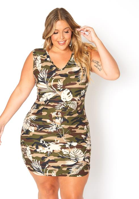 Asoph Plus Size Camo Leaf Print Sleeveless Mini Dress