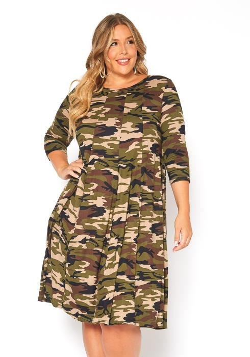 Asoph Plus Size Camo Pleated Tunic Dress