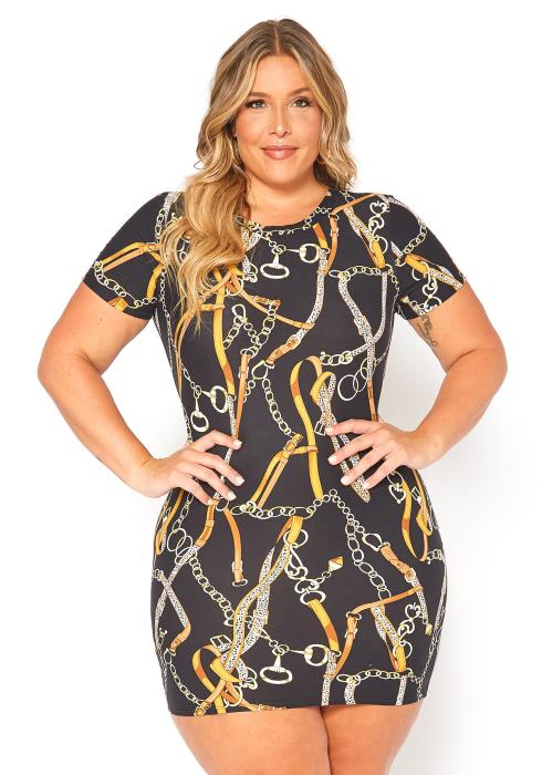 Asoph Plus Size Chains Print Bodycon Mini Dress