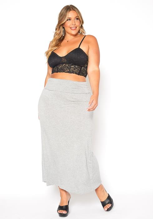 Asoph Plus Size Basic High Waisted Maxi Skirt