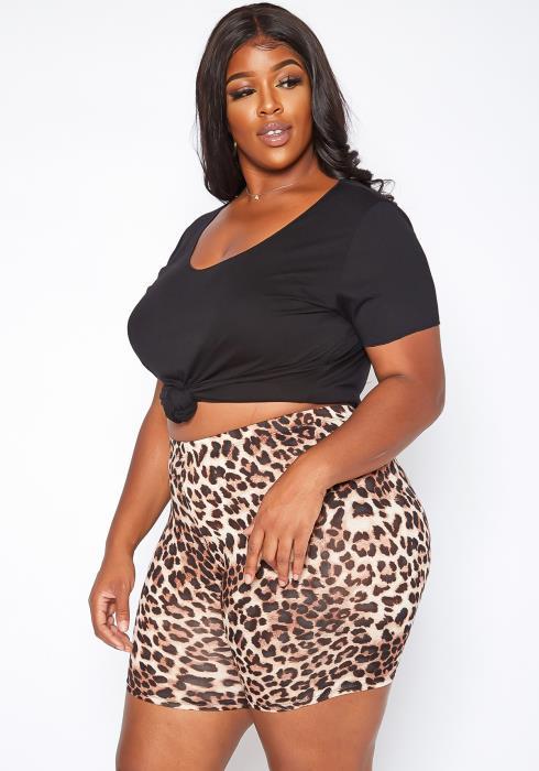 Asoph Plus Size Leopard Print Biker Shorts