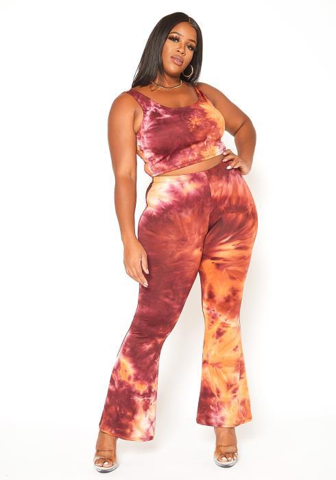 Asoph Plus Size Tie Dye Crop Top & Flare Leggings Set