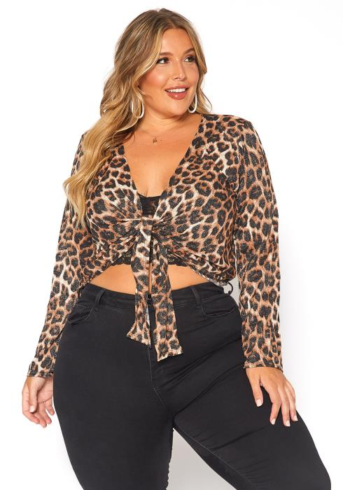 Asoph Plus Size Leopard Print Tie Front Sweater Top