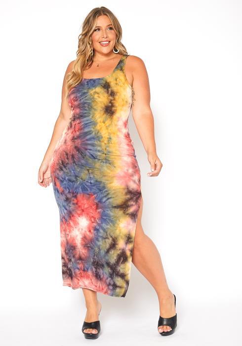 Asoph Plus Size Colorful Tie Dye Bodycon Maxi Dress