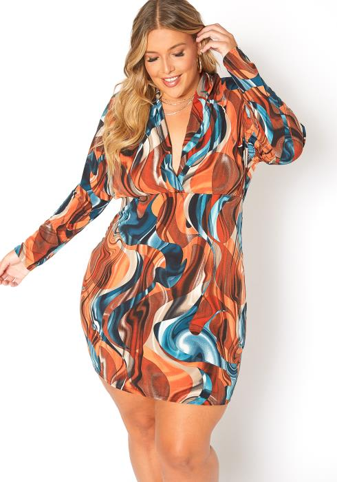 Asoph Plus Size Abstract Print Long Sleeve Mini Dress