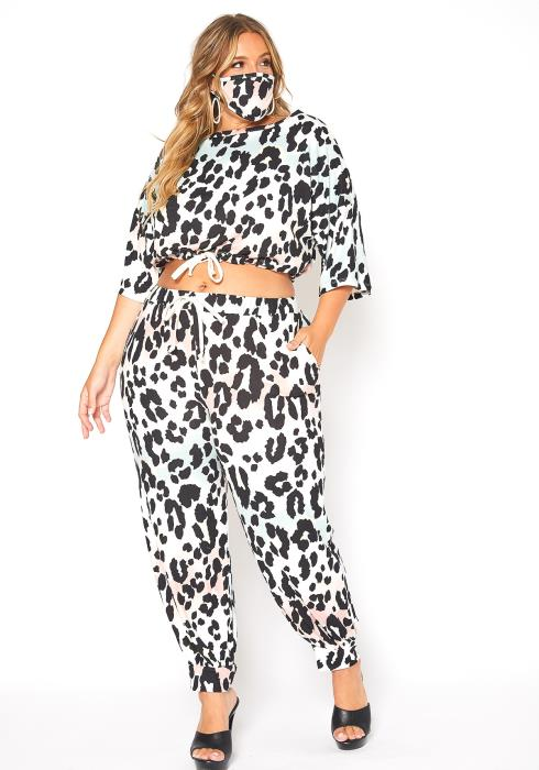 Asoph Plus Size Friendly Leopard Print Lounging Set