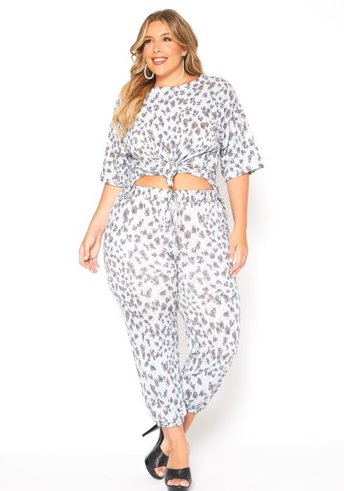 Asoph Plus Size Leopard Tee Shirt & Jogger Pants Set