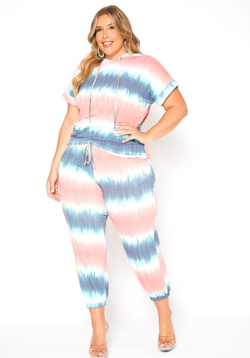 Asoph Plus Size Two Piece Comfy Tie Dye Set