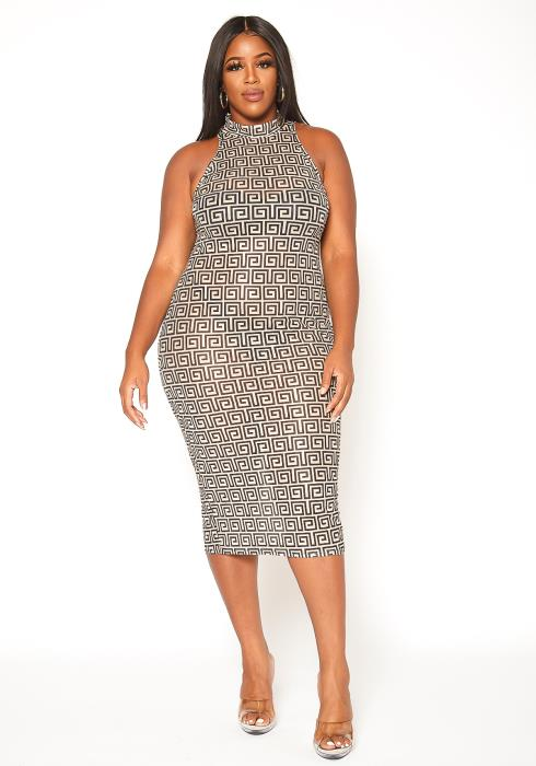 Asoph Plus Size Haltered Mock Neck Mesh Bodycon Dress