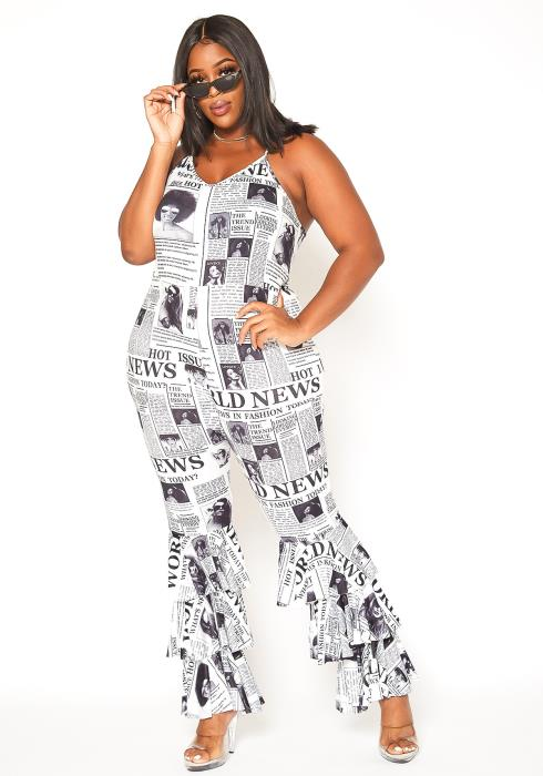 Asoph Plus Size News Print Tiered Hem Jumpsuit
