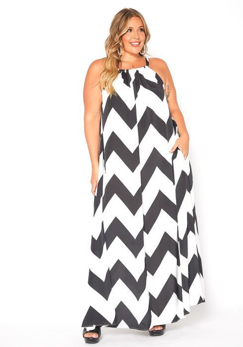 Asoph Plus Size Chevron Pattern Chiffon Maxi Dress
