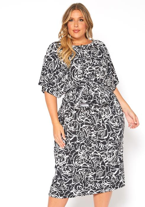 Asoph Plus Size Rose Bloom Print Midi Dress