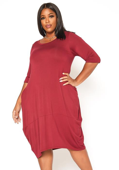 Asoph Plus Size Casual Long Sleeve Flare Midi Dress