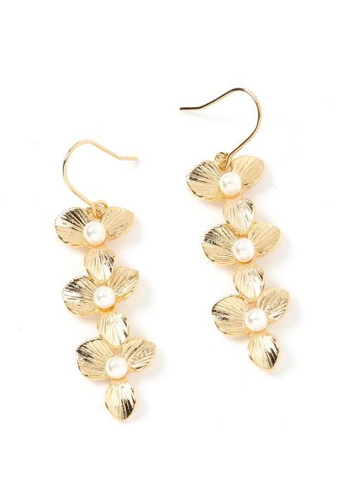 Marisol Floral Drop Gold Earrings
