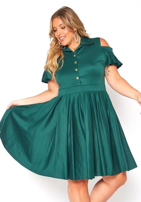Asoph Plus Size Cold Shoulder Fit & Flare Collar Dress