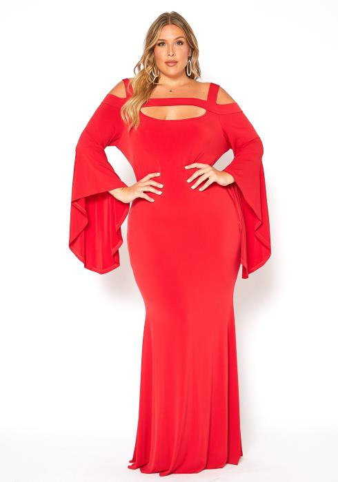Asoph Plus Size Angel Sleeve Evening Gown