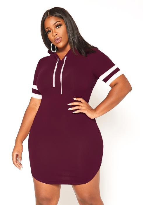 Asoph Plus Size Varsity Striped Hooded Mini Dress