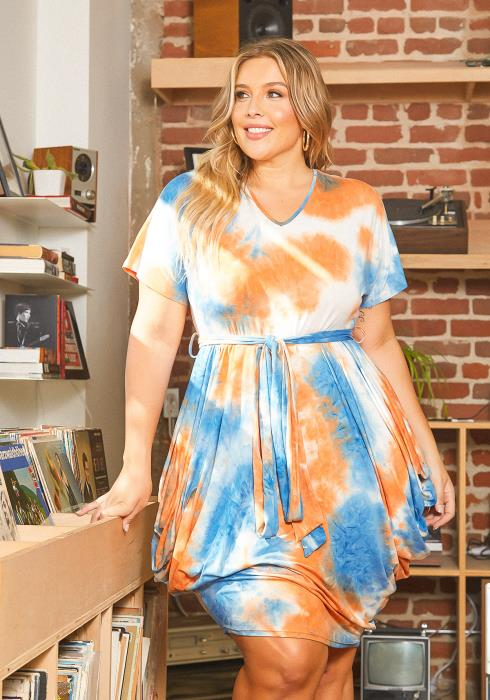 Asoph Plus Size Happy Tie Dye Hip Drape Mini Dress