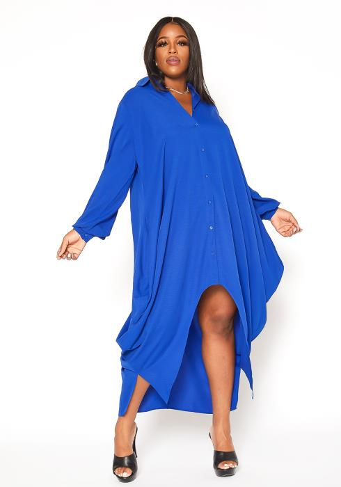 Asoph Plus Size Oversized Harem Button Up Collar Dress