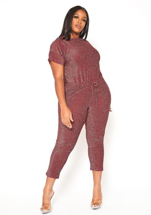Asoph Plus Size Burgundy Shimmer Party Jumpsuit