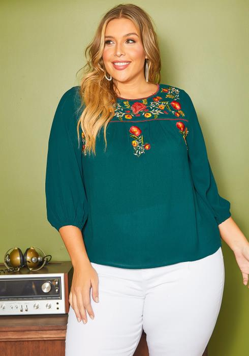 Asoph Plus Size Floral Embroidered Top