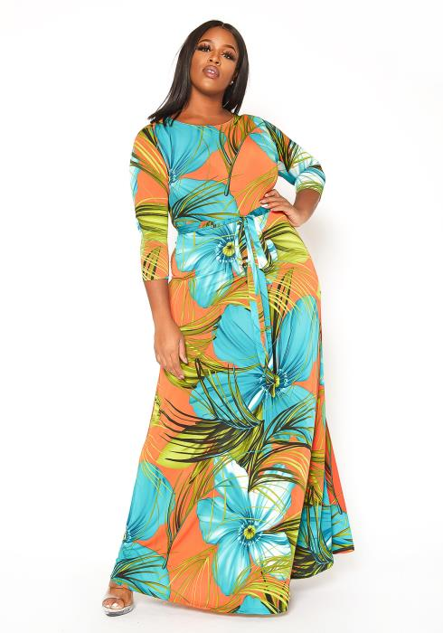Asoph Plus Size Hawaiian Print Fit & Flare Maxi Dress