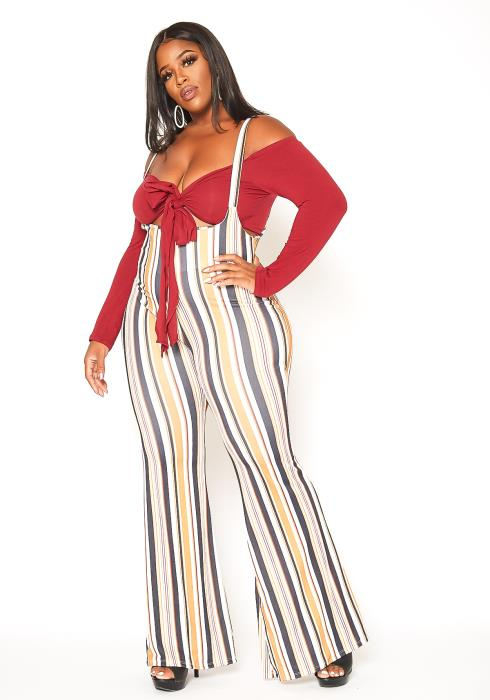 Asoph Plus Size Striped Overall Pants & Crop Top Set