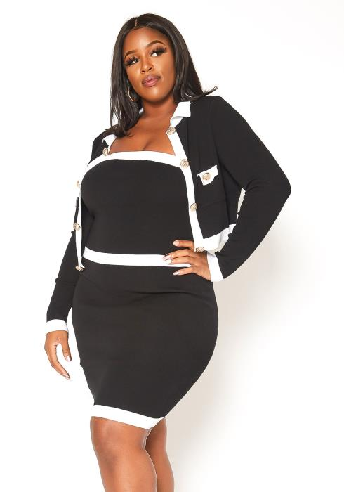 Asoph Plus Size Lavish Bodycon Tube Dress & Cardigan Set