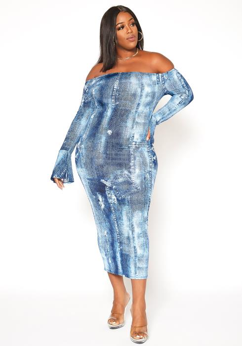 Asoph Plus Size Denim Print Off Shoulder Bodycon Dress