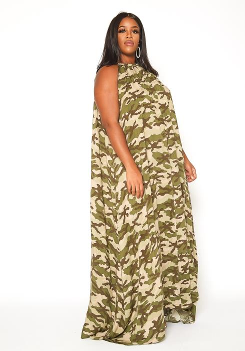 Asoph Plus Size Camo Print Halter Neck Maxi Gown
