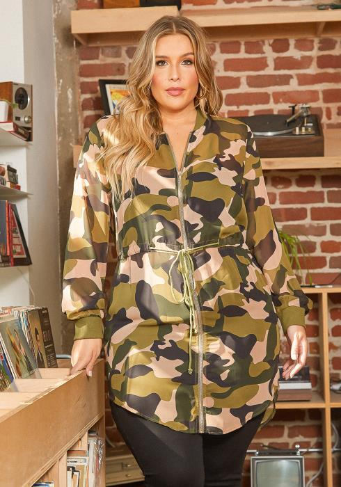 Asoph Plus Size Sheer Zip Front Camo Print Longline Cardigan