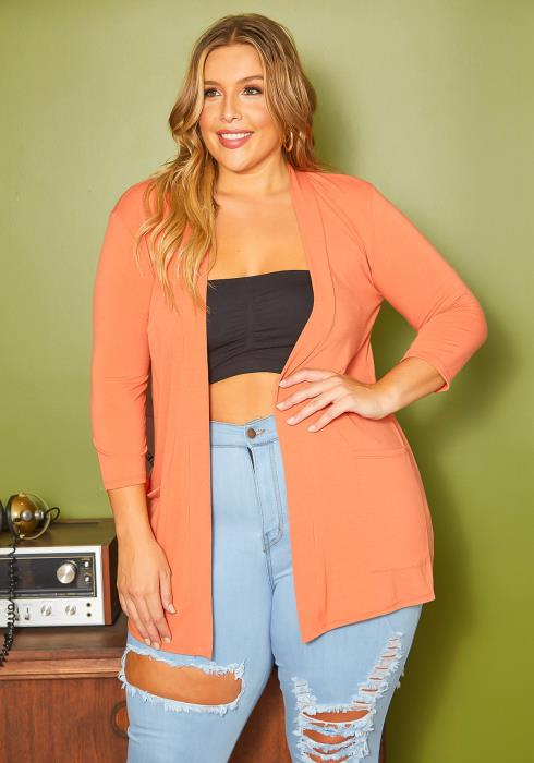 Asoph Plus Size Casual Open Front Fitted Cardigan