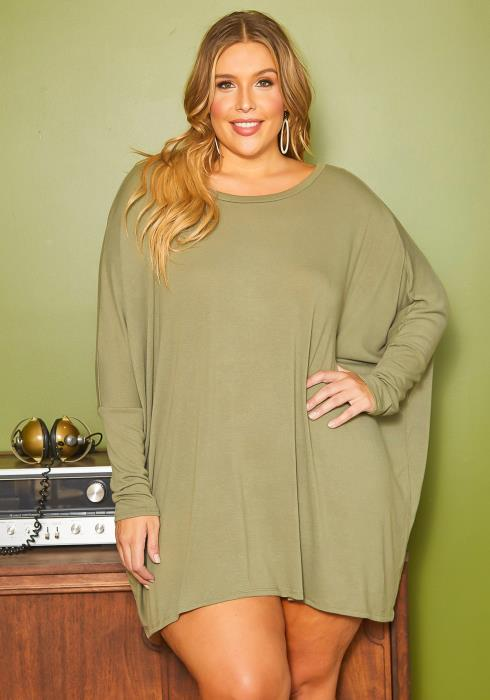 Asoph Plus Size Olive Dolman Long Sleeve Mini Dress