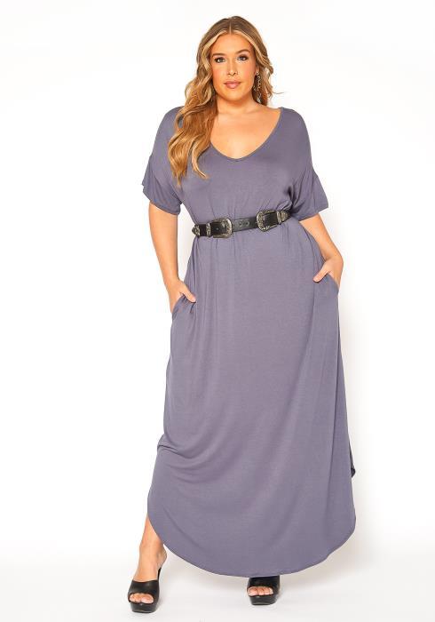 Asoph Plus Size Basic Drop Shoulder Solid Maxi Dress