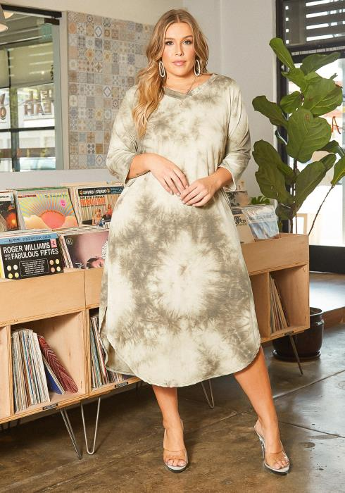Asoph Plus Size Sage Tie Dye V Neck Midi Dress