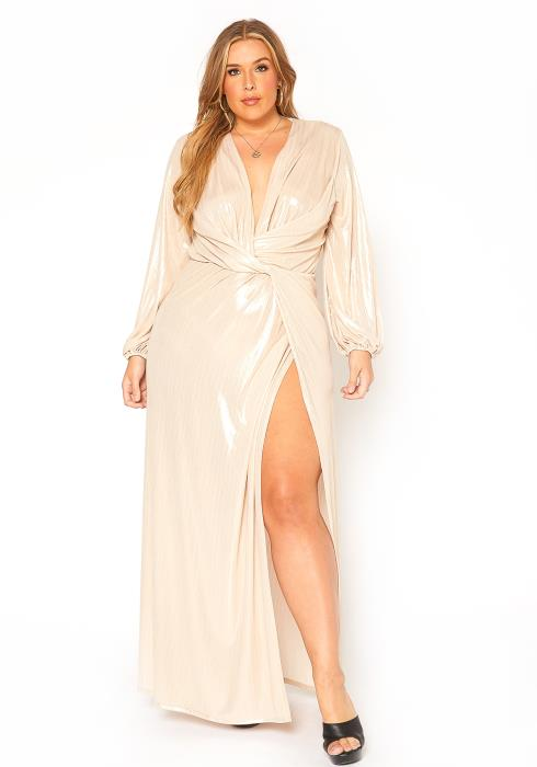 Asoph Plus Size Champagne Glimmer Special Occasion Maxi Dress