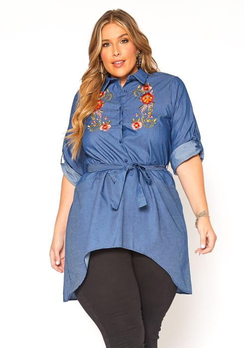 Asoph Plus Size Floral Embroidered High Low Blouse