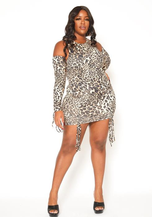 Asoph Plus Size Animal Print Cold Shoulder Bodycon Dress