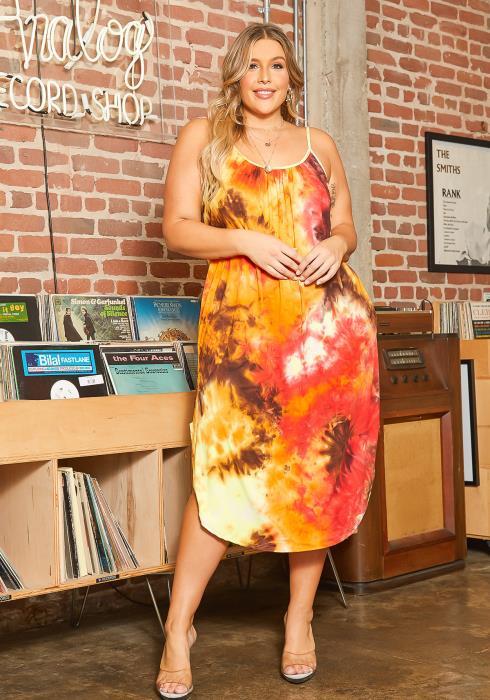 Asoph Plus Size Sunrise Tie Dye Cami Midi Dress