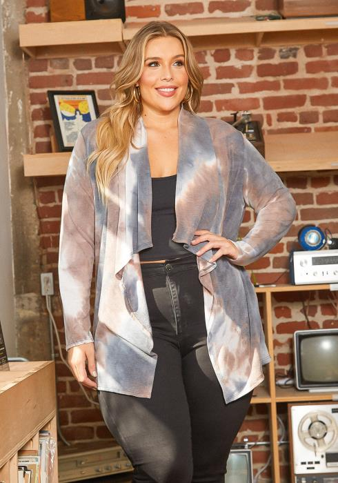 Asoph Plus Size Tie Dye Waterfall Drape Open Front Cardigan