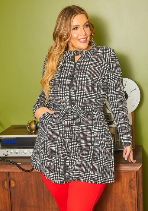 Asoph Plus Size Plaid Zip Front Longline Coat