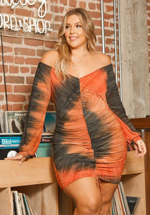 Asoph Plus Size Fiery Tie Dye Ruched Drawstring Hem Bodycon Mini Dress