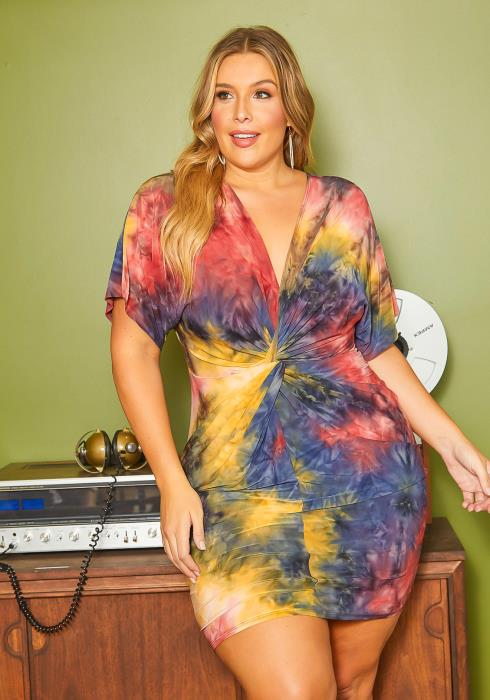 Asoph Plus Size Marvelous Tie Dye Bodycon Mini Dress