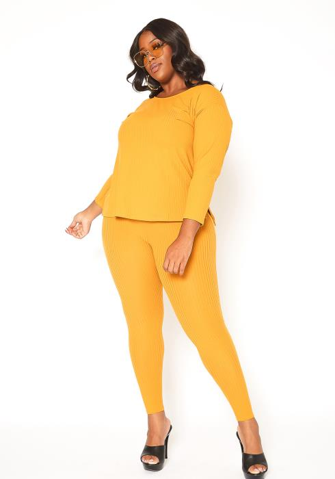 Asoph Plus Size Casual Ribbed Knit Top & Leggings Set