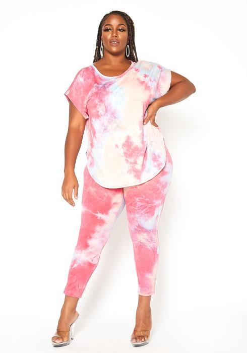 Asoph Plus Size Pretty Tie Dye Lounge Set