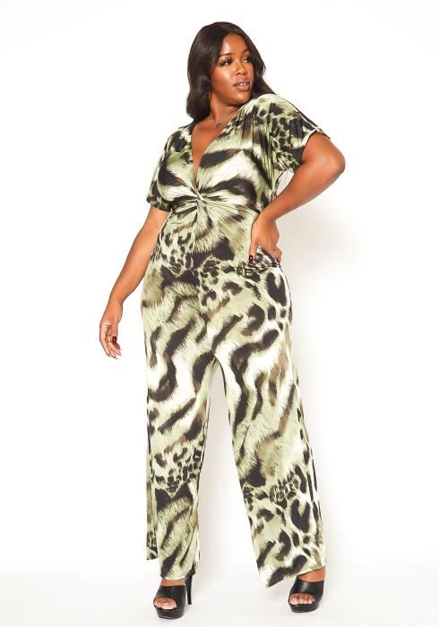 Asoph Plus Size Animal Print Twist Front Ascent Jumpsuit