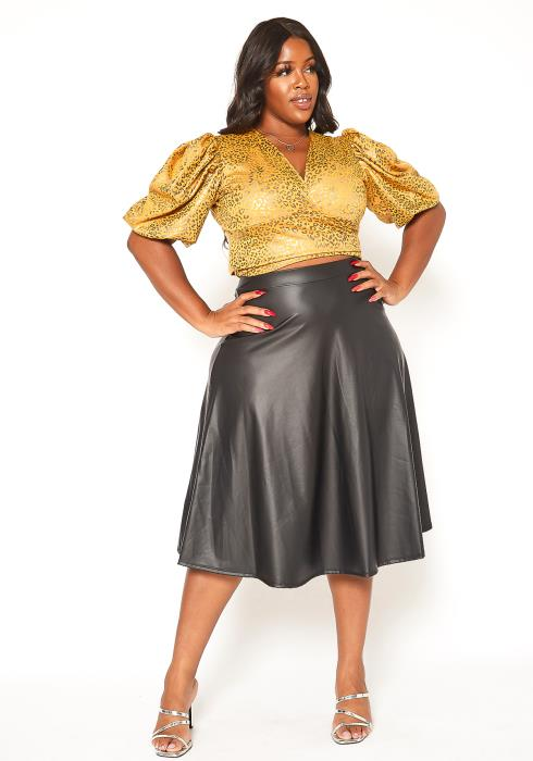 Asoph Plus Size PU Leather High Rise Midi Skirt