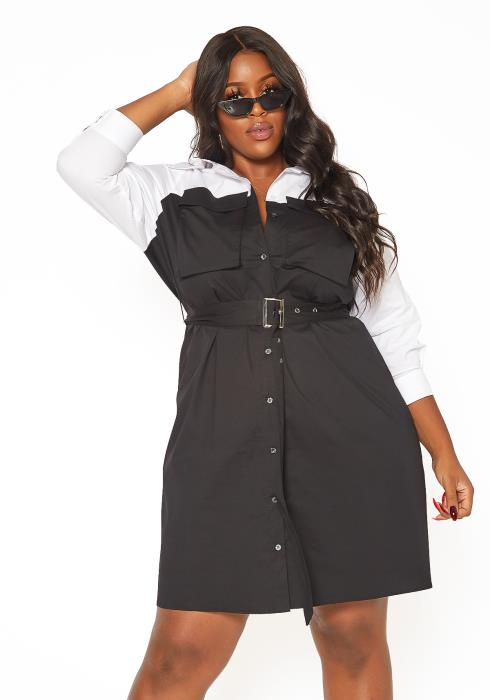 Asoph Plus Size Color Splice Button Front Mini Dress
