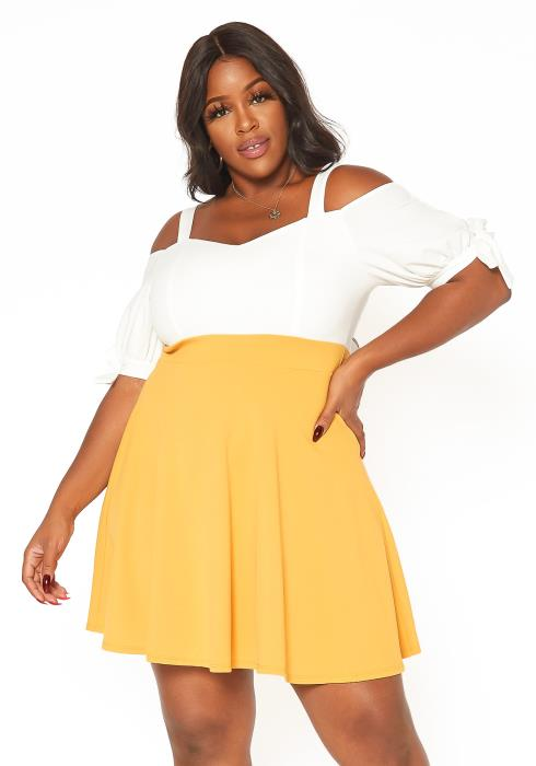 Asoph Plus Size Off Shoulder Color Contrast Flare Mini Dress