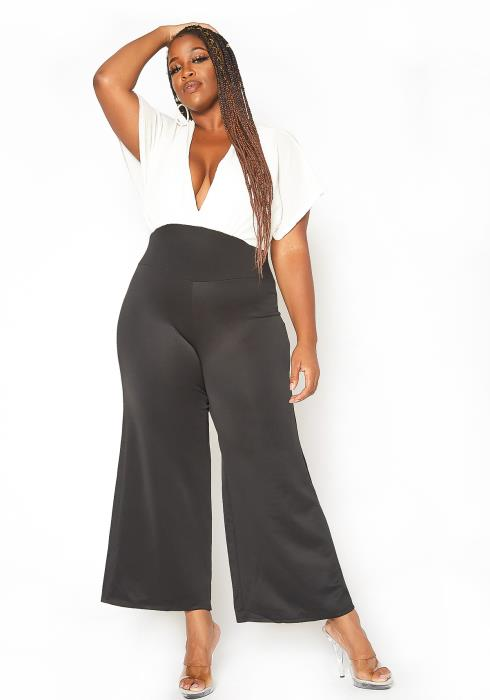 Asoph Plus Size Ribbed Knit Contrast Angel Sleeve Jumpsuit